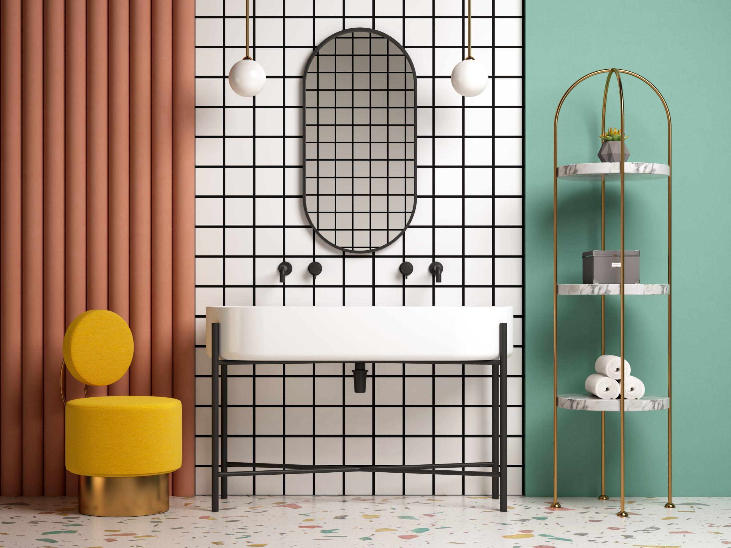 baño con colores arriesgados